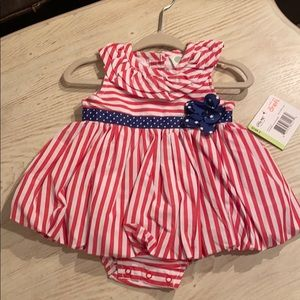 Red, white, & blue romper dress Size 3 Months NWT